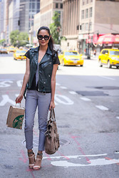 Aqeelah Harron - Prada Sunglasses, Bangkok Boutique Leather Waistcoat, Khaosan Market Houndstooth Jumpsuit, Country Road Bag, Forever 21 Heels, Thrifted Cardigan - Fifth Avenue, NEW YORK!