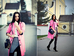 Patrycja T - Reserved Coat, Mohito Skirt, Mohito Bag, Sugralips Blouse, Centro Shoes - Pink Coat