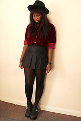 Mwandu S - Thrifted Hat, Car Boot Sale Shirt, Zara Skirt, Jeffrey Campbell Coltranes - We get along for the Most Part