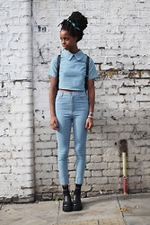 Ronan Mckenzie - The Whitepepper Crop Shirt Denim, The Whitepepper High Waist Skinny Jean Blue, The Whitepepper Leather Platform Shoe - THE WHITEPEPPER Double Denim