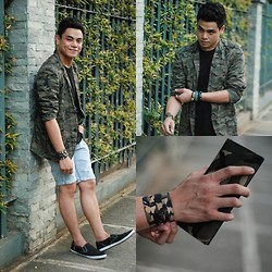 Christian Reasonda - Markus Camouflage Blazer, 21 Men Plain Black Shirt, Penshoppe Denim Shorts, Keds Champ Slip On Black Canvass Shoes, Sm Accessories Camouflage Wallet - Why hello there!