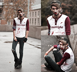 Bobby Raffin - Thrifted / Diy Baseball Blood, Thrifted Rip'ed Skinnies, Dollarama Zombie Makeup - Zombie High