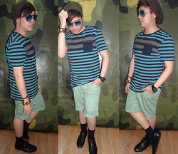 Lee Uno Ong - Celio Camouflage Beanie, Ray Ban Blue Aviator, Charm Bracelets, Celio Stripes Fashion Tees, Diesel Blue Fashion Watch, Celio Green / Vert Shorts, Celio Black Formal Socks, Ruzty Lopez Black Dress Shoes - Camouflage Halloween 2013
