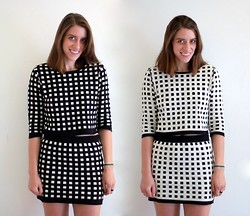 Kate Schneider - Forever 21 Grid Sweater, Forever 21 Grid Skirt - Black and white