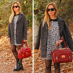 Melissa P. - Motel Floral Dress, Aldo Red Satchel, Zara Lug Sole Boots, H&M Oversized Coat - Floral in the Forest