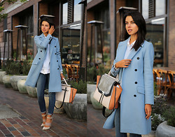 Annabelle Fleur - Paul & Joe Coat, Sigerson Morrison Heels, Bcbg Bag - Downtown Girl