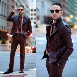 Brian Sacawa - Ray Ban Sunglasses, All Saints Leather Jacket, Brooks Brothers Tie, Asos Belt, Gap Pants, Asos Shoes - Blood and brown