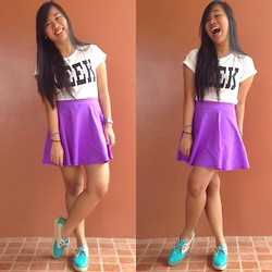 Anjerica Dulatre - Oh Kay Ganda Boutique (Instagram) Purple Skirt, Ramp At Crossings Geek Shirt, Steve Madden Shoes - Bubbly Geeky