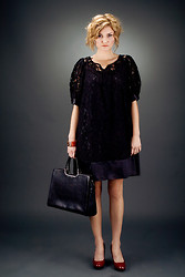 Lello Pepper - Maggy London Dress, Gucci Leather Handbag Purse - Old Maggy London A-line LBD evening out