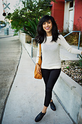Katrina M. - Cooperative Oxfords, Zara Pants, A.P.C. Wool Sweater, Baggu Tote - Brogues