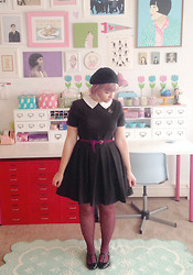 Kate Gabrielle - Asos Black And White Dress, Forever 21 Black Beret, Asos Black T Strap Shoes, H&M Purple Polka Dot Tights, Thrifted Vintage Cat Brooch - Halloween