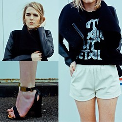 Holly Waanderland - Evil Twin Leather Shorts, Sin Star Tee, Topshop Heels - George