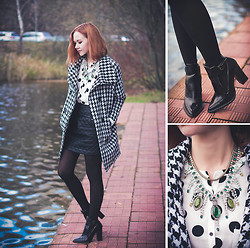 Lidia ♫♪♫ - Sheinside Coat, Sheinside Skirt, Zara Boots, Dualshine Necklace -  have a sweet houndstooth