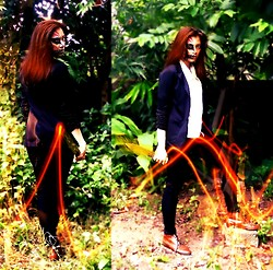 Nadine Julian - White Button Down, American Rag Sie Suit, Red Head Skinny Pants - Happy HOLLOW-een