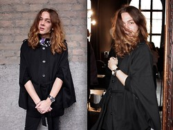 Riccardo Simonetti - H&M Cape, Guess? Watch, H&M Necklace, Cheap Monday Jeans, Zara Shirt - Black is the new Black.