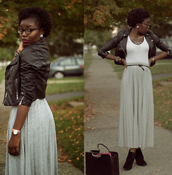 Stephanie Ukpere - Maxi Skirt, Leather Jacket - Fall Maxi Skirt