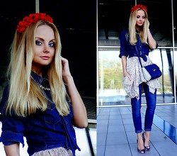 Violetta Privalova - Mango Shirt, Mango Jeans, Asos Heels, French Connection Uk Bag, Fornarina Dress - Flowers & Denim