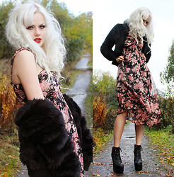 Sotzie Q - Tbdress Floral Dress, Jc Black Faux Fur, Jeffrey Campbell Damsel Platform Shoes - The moon gave me flowers, for funerals to come