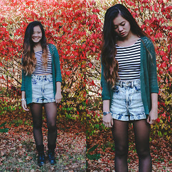Zoe B. - Forever 21 Crop Top, American Apparel Shorts, Urban Outfitters Cardigan, Dr. Martens Doc - HEY DOC