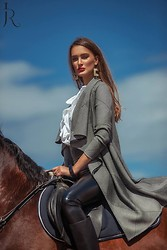 Amina Allam - Christian Dior Cardigan, Carolina Herrera Ruffle Shirt, Elisabetta Franchi Leather Pants, Fendi Riding Boots - Lonely rider