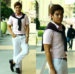Sef Tiburcio - Bench Sweater, Wall Street Buttoned Down, Mcjim Belt, Cotton On Watch, Maldita (Men) White Pants, Milanos Leather Shoes - Fresh + (International Blog Giveaway)