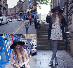 Hayley Mitchell-Gardner - New Look Car Print Dress, New Look Grey Tights, Asos Metallic Mary Janes, H&M Oversized Fedora - Edinburgh Fringe Festival