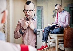 RASCAL-ROOM.blogspot.com Instagram.com/SebastianKobielski - Brylove Glasses, M&S Shirt, Swatch Watch, M&S Suspenders, Blue Harbour Shoes, Autograph Trousers - Contrastive student