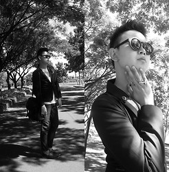Anthony Shieh - Sunnies By Charlie Alicia Black Sunglass, Msense Cross Ring, Mint Blazer, Oxygen Slacks, Salvatore Mann Leather Bag, Topman Scoop V Neck Top, Milanos Onyx Loafers - Let me show you a few things.