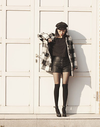 Lan Choi - Artfit Elsta Plaid Wool Blend Coat, Artfit Kaff Lace Up Leather Shorts - Classic cat: Plaid coat,lace up leather shorts by ARTFITSHOP