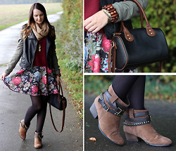 Sabrina K. - Primark Leather Khaki Jacket, New Yorker Flower Skirt, Primark Boots - And you were strong and I was not!