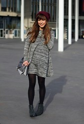 Kim S. - Ribbon Dress, Springfield Purse, J. Crew Necklace, Sacha Boots - Grey Basics