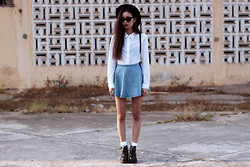 Vu Thien - Thrift Store Top, Chicnova Skirt, Wholesale7.Net Boots, Sunglasses - DENIM SKIRT