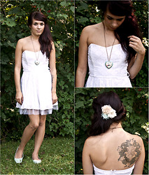 Emily Perkovich - Forever 21 White Eyelet & Tulle Dress, Wet Seal Mint Cotton Flats, Forever 21 Floral Heart Necklace, Icing Rose Hair Clips - 09012013