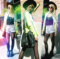 Chanssy X. - Topshop Black Felt Fedora, Forever 21 Faux Leather Cross Necklace, Forever 21 Triangle Necklace, Forever 21 Modernist Bucket Bag, Butterfly Print Green Scarf - FERGUSONLANE 376