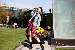 Alex T - Vintage Army Hat, Guess? Jean Jacket, H&M Plaid Button Up, Forever 21 Black Dress - Deemed korea's agyness deyn