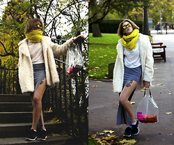 J o e . - Monki Sunnies, Topshop Scarf, Topshop Coat, Bershka Blouse, Weekday Skirt, Weekday Bag, Nike - Sheep