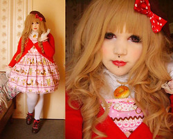 Chrysalis Batlace - Dol Little Bears Café, Bodyline Brown Shoes, Cyber Kawaii Créations Donuts Necklace - Sweety Red Cakes
