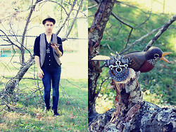 Zachary Davis - Second Hand Vintage Bird Pendant, Milani Brown Fadora With Black Band, Heritage 1981 Brown Vest, Refuge High Waisted Pants, Faded Glory Black Boots, Second Hand Black, Collarless Button Up - If the clouds were singing a song, wouldn't you too?