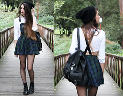 CLAUDIA Holynights - Asos Beanie, Freak Of Nature Pinafore Tartan Dress, Calzedonia Fishnet Tights, Dr. Martens Docs - And i didn't give a damn
