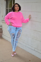 Nadia Aboulhosn - Boohoo Knit Sweater, Necessary Clothing - Bubble Gum Pink