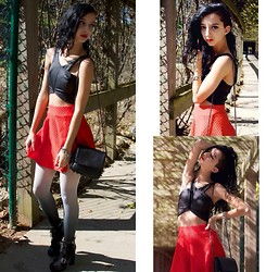 Gabriela L - Nasty Gal Top, H&M Skirt, Target Tights, Jeffrey Campbell Shoes, Nasty Gal Bracelet - Follow Me Down to the River