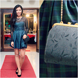 Hannako Ngohayon - Vintage Purse, Thrifted Plaid Dress, Claires Chain Necklace, Chic Label Black Kitten Heels - Red Carpet Ready