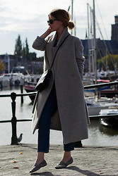 Christine R. - Cos Coat, Céline Large Trio Bag, Zara Pony Hair Flats - Comfy chic