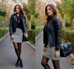 Viktoriya Sener - Mango Leather Jacket, Koton Checked Skirt - BLACK&WHITE