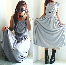 Bernadette F - Retro Round Sunglass, Eye Cross Pendant Necklace, Long Halter Neck Dress, Platform Boots - Grey
