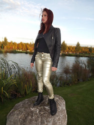 Tanya Wall - Softy Leather Spike Blazer, Mim Ti Shirt, Zara Golden Metal Effect Pants, Gift Combat Boots - Golden rock