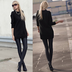 Daggi Str - Gianmarco Lorezi Thigh High Boots, By Dziubeka Necklace - Sweater dress
