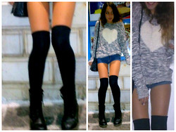 S.t.e.f.f.i.e - Overknee Socks, New Yorker Sweater, Dr. Martens Black Boots - Heart sweater