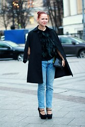 Jenny Danilkova - Topshop Cape, Topman Jeans - Feather cape