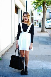 Estefania Pino - Nasty Gal White Dress, Tobi Crop Top, Rebecca Minkoff Tote, Jeffrey Campbell Boots - After Leaving Your Apartment